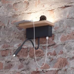 Настенный светильник-полка с подсветкой/USB ODEON LIGHT WOODY 3868/8WL